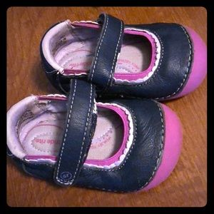 Stride ride baby girl walking shoes!! Navy&pink!
